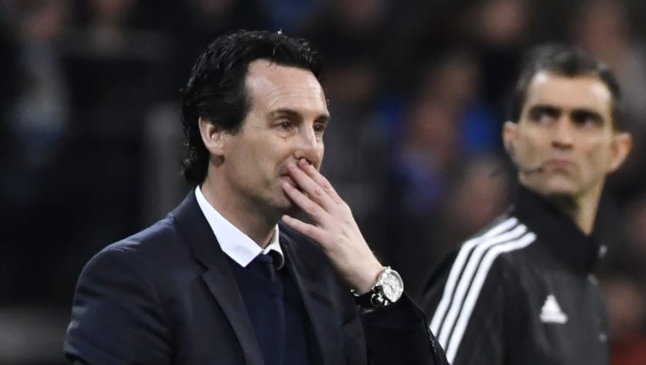 Paris Saint-Germain's Spanish coach Unai Emery (L) gestures during the UEFA Champions League round of sixteen first leg football match Real Madrid CF against Paris Saint-Germain (PSG) at the Santiago Bernabeu stadium in Madrid on February 14, 2018.   / AFP PHOTO / CHRISTOPHE SIMON        (Photo credit should read CHRISTOPHE SIMON/AFP/Getty Images)