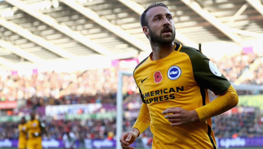 SWANSEA, WALES - NOVEMBER 04:  Glenn Murray of Brighton and Hove Albion celebrates scoring his side's first goal during the Premier League match between Swansea City and Brighton and Hove Albion at Liberty Stadium on November 4, 2017 in Swansea, Wales.  (Photo by Michael Steele/Getty Images)