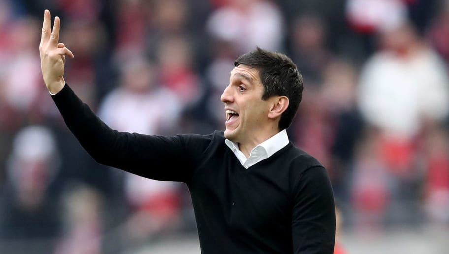 COLOGNE, GERMANY - MARCH 04: Head coach Tayfun Korkut of Stuttgart issues instructions during the Bundesliga match between 1. FC Koeln and VfB Stuttgart at RheinEnergieStadion on March 4, 2018 in Cologne, Germany. The match between Koeln and Stuttgart ended 2-3. (Photo by Christof Koepsel/Bongarts/Getty Images)