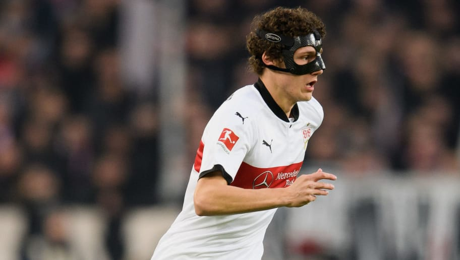 STUTTGART, GERMANY - JANUARY 13: Benjamin Pavard of Stuttgart controls the ball during the Bundesliga match between VfB Stuttgart and Hertha BSC at Mercedes-Benz Arena on January 13, 2018 in Stuttgart, Germany. (Photo by Matthias Hangst/Bongarts/Getty Images)