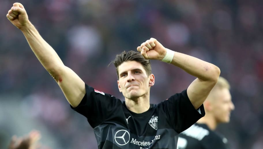 COLOGNE, GERMANY - MARCH 04: Mario Gomez of Stuttgart celebrates after the Bundesliga match between 1. FC Koeln and VfB Stuttgart at RheinEnergieStadion on March 4, 2018 in Cologne, Germany. The match between Koeln and Stuttgart ended 2-3. (Photo by Christof Koepsel/Bongarts/Getty Images)