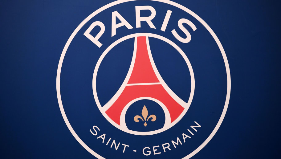 A picture taken on September 6, 2017 shows the logo of the Paris Saint-Germain's (PSG) L1 football club displayed before a press conference at the Parc des Princes stadium in Paris. The 18-year-old striker moved to PSG in a season-long loan deal with a 180 million euro buy-out clause attached, making him the second most expensive player of all time behind new teammate Neymar. / AFP PHOTO / FRANCK FIFE        (Photo credit should read FRANCK FIFE/AFP/Getty Images)