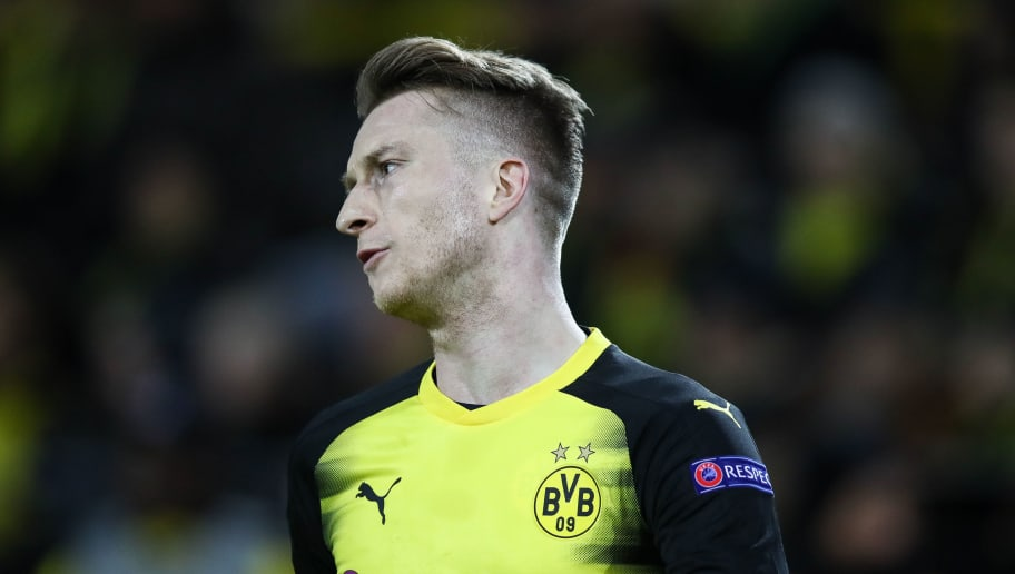 DORTMUND, GERMANY - MARCH 08: Marco Reus #11 of Borussia Dortmund reacts during UEFA Europa League Round of 16 match between Borussia Dortmund and FC Red Bull Salzburg at the Signal Iduna Park on March 8, 2018 in Dortmund, Germany. (Photo by Maja Hitij/Bongarts/Getty Images)