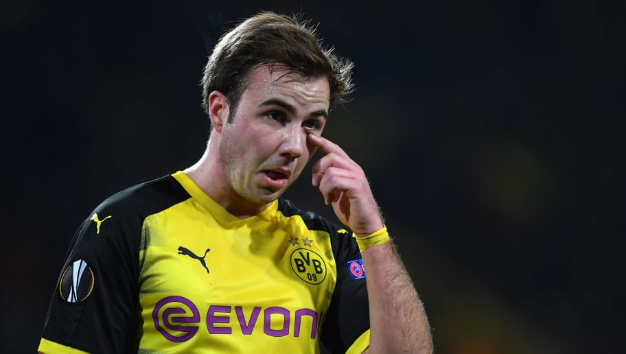 DORTMUND, GERMANY - MARCH 08:  Mario Goetze of Dortmund looks dejected during UEFA Europa League Round of 16 match between Borussia Dortmund and FC Red Bull Salzburg at the Signal Iduna Park on March 8, 2018 in Dortmund, Germany.  (Photo by Stuart Franklin/Bongarts/Getty Images)