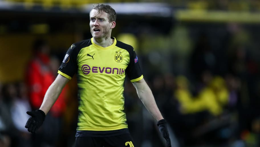 DORTMUND, GERMANY - MARCH 08: Andre Schurrle #21 of Borussia Dortmund reacts during the UEFA Europa League Round of 16 match between Borussia Dortmund and FC Red Bull Salzburg at the Signal Iduna Park on March 8, 2018 in Dortmund, Germany. (Photo by Maja Hitij/Bongarts/Getty Images)