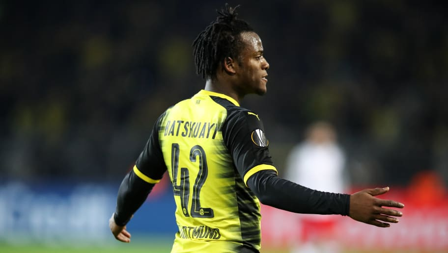 DORTMUND, GERMANY - MARCH 08: Michy Batshuayi #42 of Borussia Dortmund reacts during UEFA Europa League Round of 16 match between Borussia Dortmund and FC Red Bull Salzburg at the Signal Iduna Park on March 8, 2018 in Dortmund, Germany. (Photo by Maja Hitij/Bongarts/Getty Images)