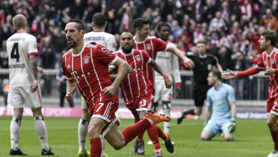 Bayern Munich's French midfielder Franck Ribery celebrates his first goal during the German first division Bundesliga football match Bayern Munich vs Hamburger SV in Munich on March 10, 2018. / AFP PHOTO / Guenter SCHIFFMANN / RESTRICTIONS: DURING MATCH TIME: DFL RULES TO LIMIT THE ONLINE USAGE TO 15 PICTURES PER MATCH AND FORBID IMAGE SEQUENCES TO SIMULATE VIDEO. == RESTRICTED TO EDITORIAL USE == FOR FURTHER QUERIES PLEASE CONTACT DFL DIRECTLY AT + 49 69 650050         (Photo credit should read GUENTER SCHIFFMANN/AFP/Getty Images)