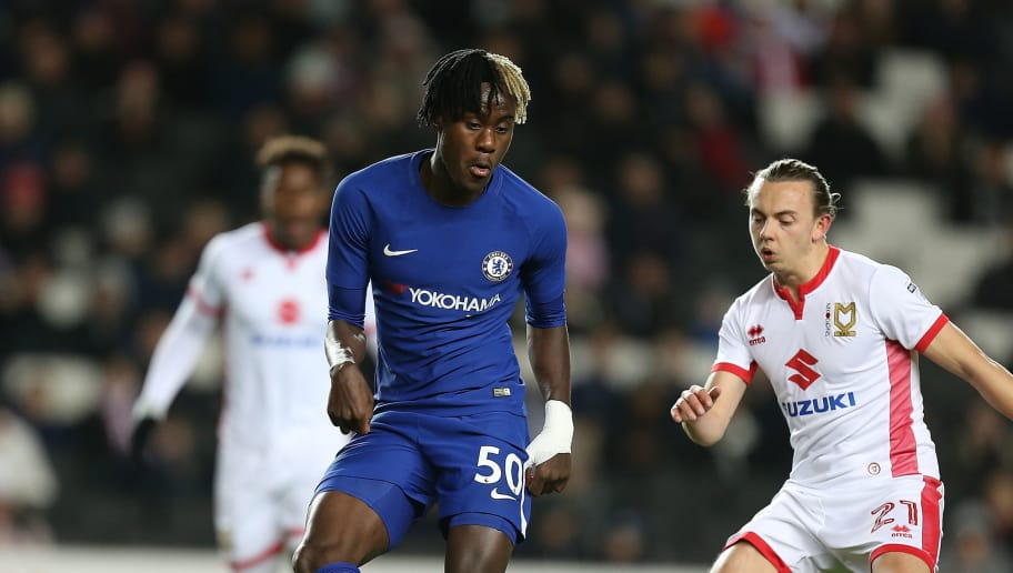 MILTON KEYNES, ENGLAND - DECEMBER 06:  Trevoh Chalobah of Chelsea plays the ball during the Checkatrade Trophy Second Round match between Milton Keynes Dons and Chelsea U21vat StadiumMK on December 6, 2017 in Milton Keynes, England.  (Photo by Pete Norton/Getty Images)