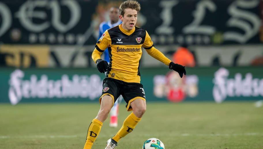 DRESDEN, GERMANY - MARCH 02: Niklas Hauptmann of Dresden in action during the Second Bundesliga match between SG Dynamo Dresden and SV Darmstadt 98 at DDV-Stadion on March 2, 2018 in Dresden, Germany. (Photo by Thomas Eisenhuth/Bongarts/Getty Images)