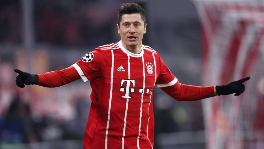 MUNICH, GERMANY - FEBRUARY 20:  Robert Lewandowski of Bayern Muenchen celebrates after scoring his sides fourth goal during the UEFA Champions League Round of 16 First Leg  match between Bayern Muenchen and Besiktas at Allianz Arena on February 20, 2018 in Munich, Germany.  (Photo by Alex Grimm/Bongarts/Getty Images)