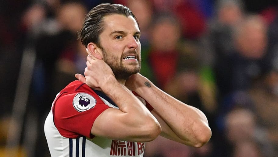 West Bromwich Albion's English striker Jay Rodriguez reacts after missing a chance during the English Premier League football match between Chelsea and West Bromwich Albion at Stamford Bridge in London on February 12, 2018. / AFP PHOTO / Ben STANSALL / RESTRICTED TO EDITORIAL USE. No use with unauthorized audio, video, data, fixture lists, club/league logos or 'live' services. Online in-match use limited to 75 images, no video emulation. No use in betting, games or single club/league/player publications.  /         (Photo credit should read BEN STANSALL/AFP/Getty Images)