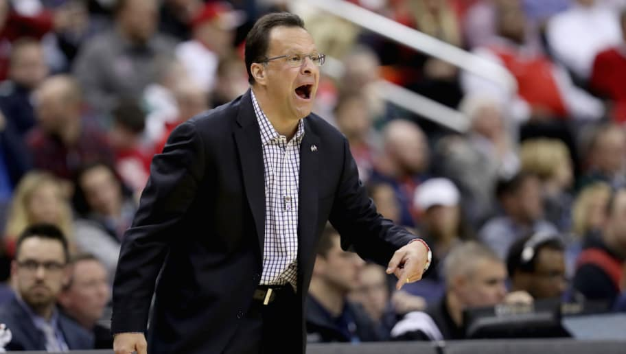 WASHINGTON, DC - MARCH 10:  Head coach Tom Crean of the Indiana Hoosiers watches from the sidelines against the Wisconsin Badgers during the Big Ten Basketball Tournament at Verizon Center on March 10, 2017 in Washington, DC.  (Photo by Rob Carr/Getty Images)