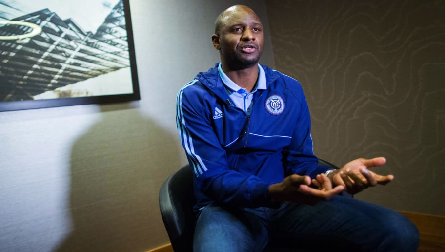 New York City FC head coach Patrick Vieira speaks at an interview with AFP during the club's annual media day on March 9, 2017, in New York. / AFP PHOTO / EDUARDO MUNOZ ALVAREZ        (Photo credit should read EDUARDO MUNOZ ALVAREZ/AFP/Getty Images)