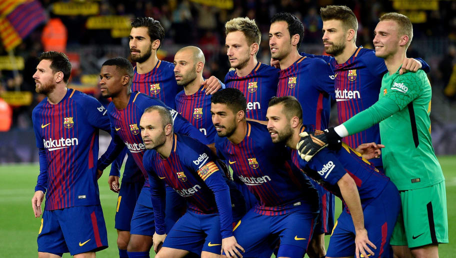 (FromL) Barcelona's Argentinian forward Lionel Messi, Barcelona's Portuguese defender Nelson Semedo, Barcelona's Portuguese midfielder Andre Gomes, Barcelona's Argentinian defender Javier Mascherano, Barcelona's Croatian midfielder Ivan Rakitic, Barcelona's Spanish midfielder Sergio Busquets, Barcelona's Spanish defender Gerard Pique, Barcelona's Spanish midfielder Andres Iniesta, Barcelona's Uruguayan forward Luis Suarez , Barcelona's Spanish defender Jordi Alba and Barcelona's Dutch goalkeeper Jasper Cillessen pose before the Spanish Copa del Rey (King's Cup) round of 16 second leg football match FC Barcelona vs RC Celta de Vigo at the Camp Nou stadium in Barcelona on January 11, 2018. / AFP PHOTO / LLUIS GENE        (Photo credit should read LLUIS GENE/AFP/Getty Images)