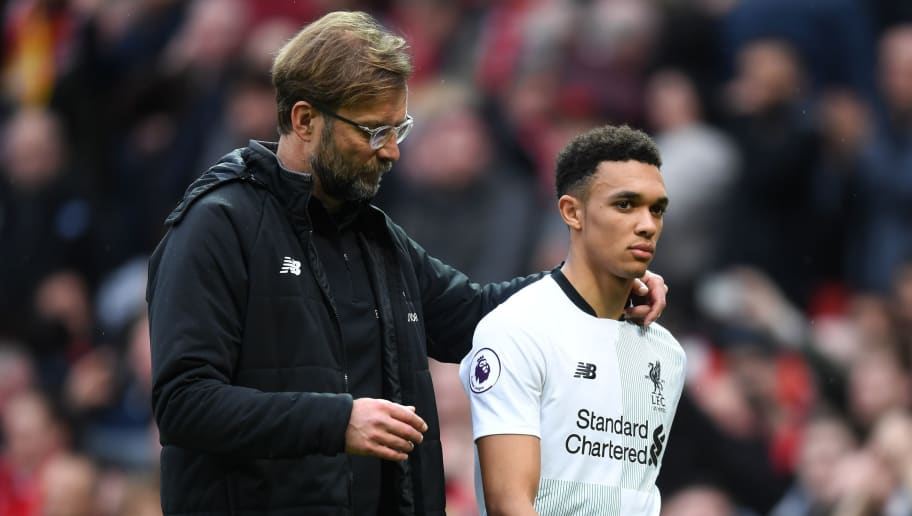 MANCHESTER, ENGLAND - MARCH 10:  Trent Alexander-Arnold of Liverpool with Jurgen Klopp, Manager of Liverpool after the Premier League match between Manchester United and Liverpool at Old Trafford on March 10, 2018 in Manchester, England.  (Photo by Michael Regan/Getty Images)