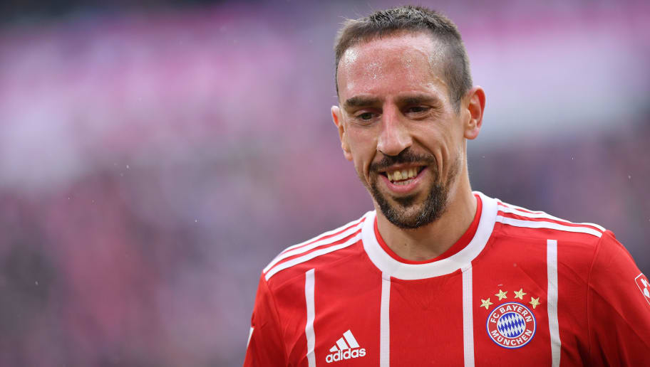 MUNICH, GERMANY - MARCH 10: Franck Ribery of Bayern Muenchen smiles during the Bundesliga match between FC Bayern Muenchen and Hamburger SV at Allianz Arena on March 10, 2018 in Munich, Germany. (Photo by Sebastian Widmann/Bongarts/Getty Images)