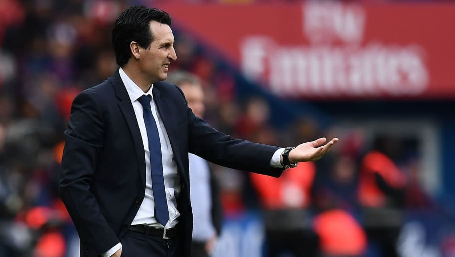 Paris Saint-Germain's Spanish head coach Unai Emery gestures during the French L1 football match between Paris Saint-Germain and Metz at the Parc des Princes stadium in Paris on March 10, 2018. / AFP PHOTO / FRANCK FIFE        (Photo credit should read FRANCK FIFE/AFP/Getty Images)
