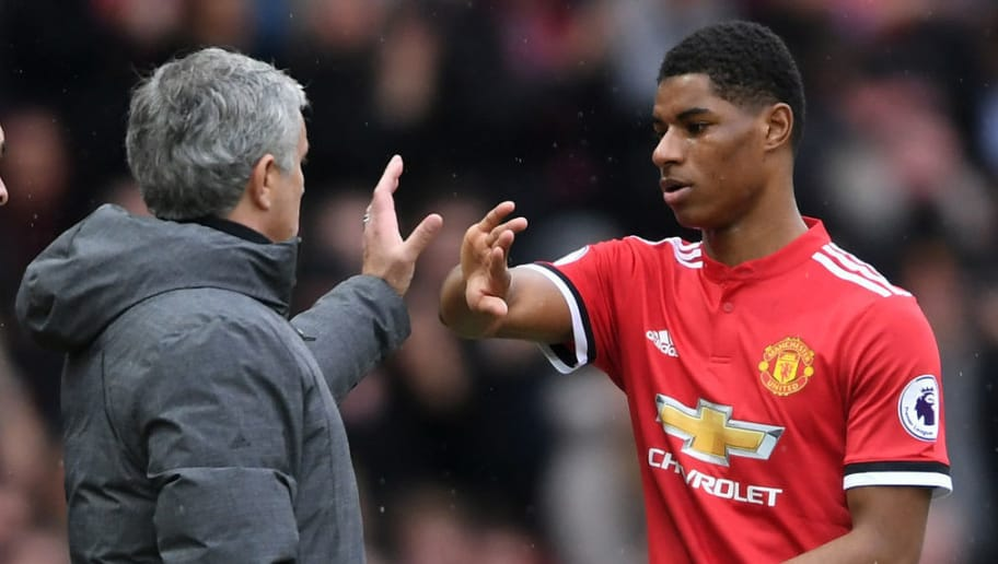 MANCHESTER, ENGLAND - MARCH 10:  Jose Mourinho, Manager of Manchester United speaks with Marcus Rashford of Manchester United as he is substituted during the Premier League match between Manchester United and Liverpool at Old Trafford on March 10, 2018 in Manchester, England.  (Photo by Laurence Griffiths/Getty Images)