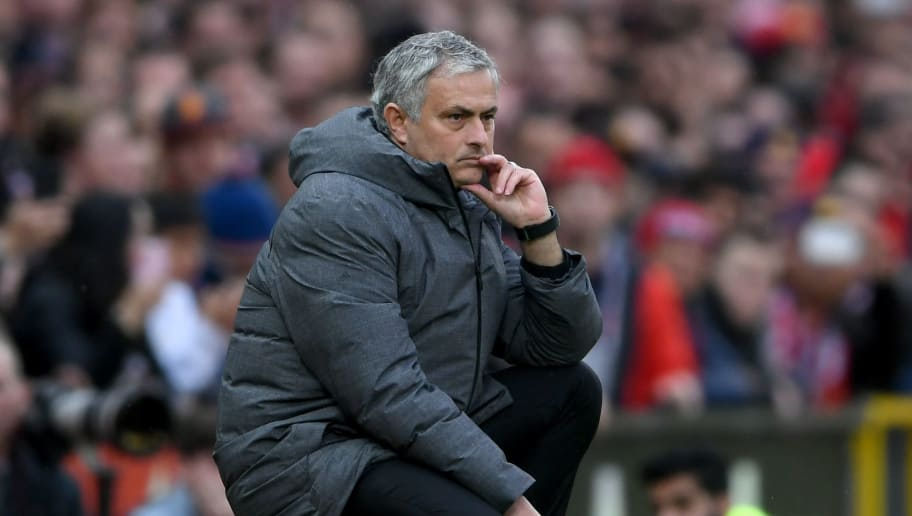 MANCHESTER, ENGLAND - MARCH 10:  Jose Mourinho, Manager of Manchester United looks on during the Premier League match between Manchester United and Liverpool at Old Trafford on March 10, 2018 in Manchester, England.  (Photo by Laurence Griffiths/Getty Images)