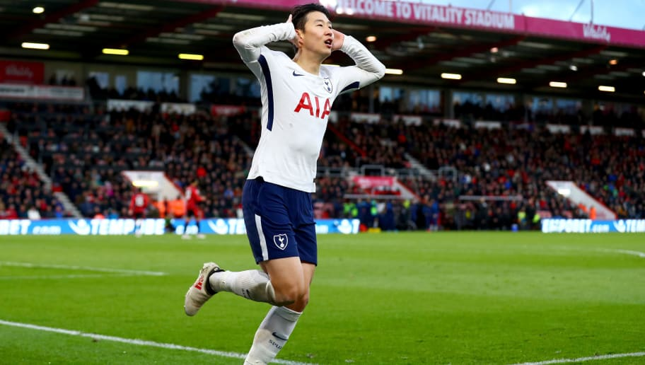 BOURNEMOUTH, ENGLAND - MARCH 11:  Heung-Min Son of Tottenham Hotspur celebrates after scoring his sides third goal during the Premier League match between AFC Bournemouth and Tottenham Hotspur at Vitality Stadium on March 11, 2018 in Bournemouth, England.  (Photo by Clive Rose/Getty Images)