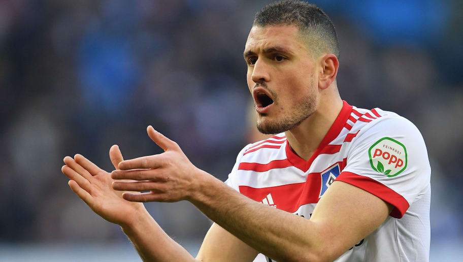 HAMBURG, GERMANY - MARCH 03: Kyriakos Papadopoulos of Hamburg cheers his team on during the Bundesliga match between Hamburger SV and 1. FSV Mainz 05 at Volksparkstadion on March 3, 2018 in Hamburg, Germany. (Photo by Stuart Franklin/Bongarts/Getty Images)