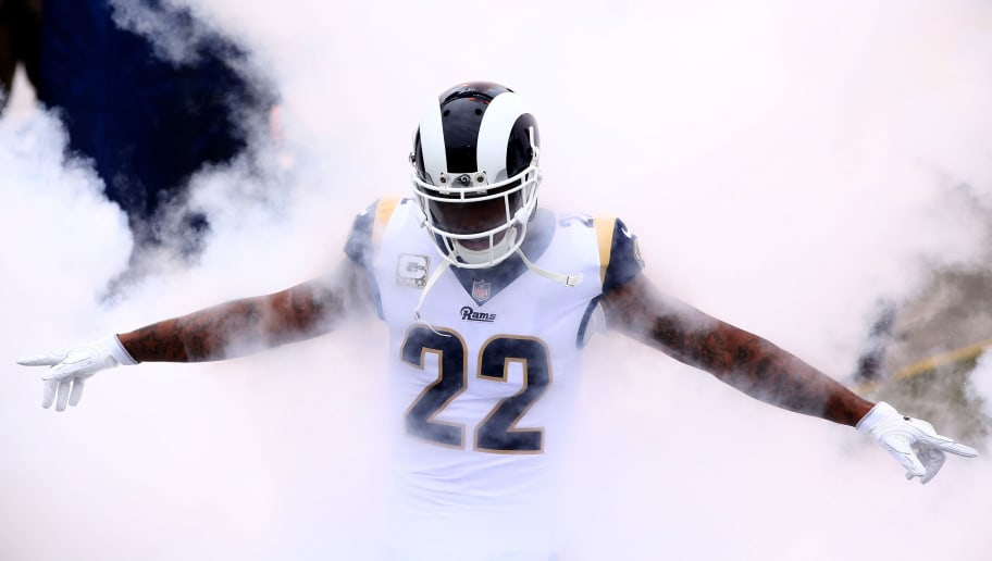 LOS ANGELES, CA - NOVEMBER 12:   Trumaine Johnson #22 of the Los Angeles Rams enters the stadium prior to a game against the Houston Texans at Los Angeles Memorial Coliseum on November 12, 2017 in Los Angeles, California.  (Photo by Sean M. Haffey/Getty Images)