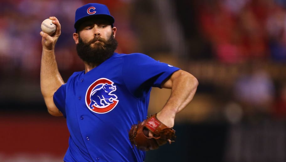 ST. LOUIS, MO - SEPTEMBER 26: Jake Arrieta #49 of the Chicago Cubs pitches against the St. Louis Cardinals in the first inning at Busch Stadium on September 26, 2017 in St. Louis, Missouri.  (Photo by Dilip Vishwanat/Getty Images)