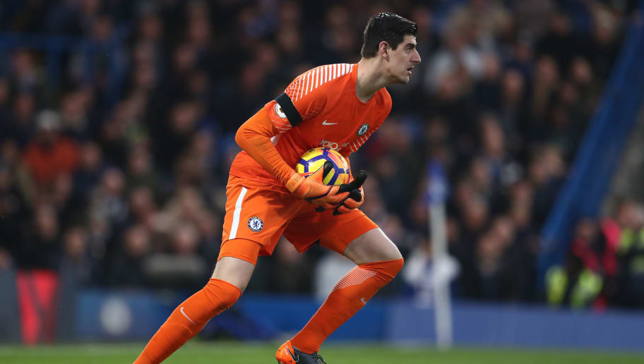 LONDON, ENGLAND - MARCH 10: Chelsea goalkeeper Thibaut Courtois  during the Premier League match between Chelsea and Crystal Palace at Stamford Bridge on March 10, 2018 in London, England. (Photo by Catherine Ivill/Getty Images)