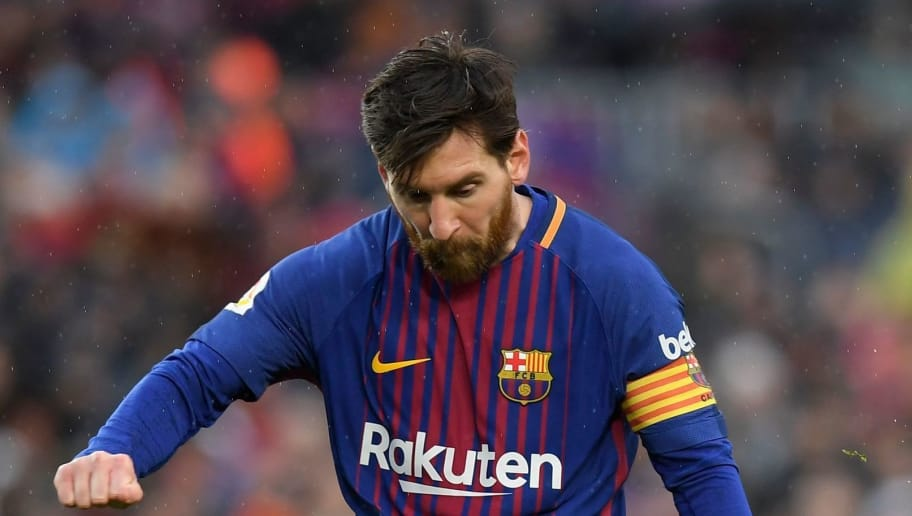 Barcelona's Argentinian forward Lionel Messi kicks the ball during the Spanish league football match FC Barcelona against Club Atletico de Madrid at the Camp Nou stadium in Barcelona on March 04, 2018. / AFP PHOTO / LLUIS GENE        (Photo credit should read LLUIS GENE/AFP/Getty Images)
