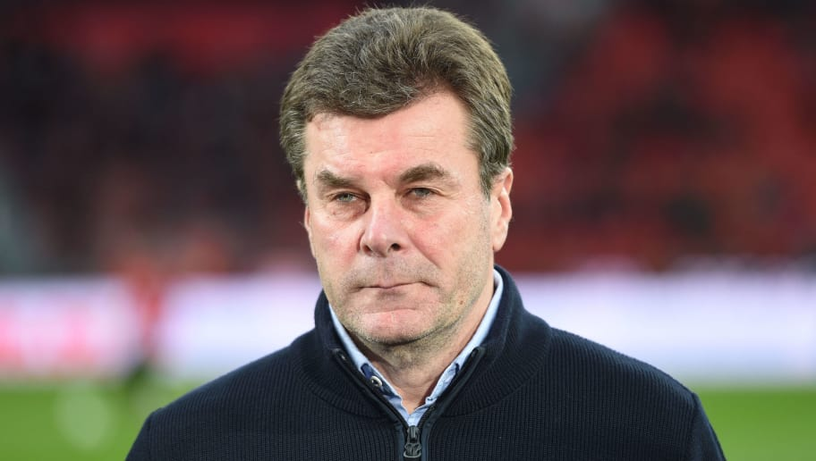 Moenchengladbach's German head coach Dieter Hecking is pictured ahead of the German first division Bundesliga football match Bayer Leverkusen vs Borussia Moenchengladbach, in Leverkusen, western Germany, on March 10, 2018. / AFP PHOTO / Patrik STOLLARZ / RESTRICTIONS: DURING MATCH TIME: DFL RULES TO LIMIT THE ONLINE USAGE TO 15 PICTURES PER MATCH AND FORBID IMAGE SEQUENCES TO SIMULATE VIDEO. == RESTRICTED TO EDITORIAL USE == FOR FURTHER QUERIES PLEASE CONTACT DFL DIRECTLY AT + 49 69 650050         (Photo credit should read PATRIK STOLLARZ/AFP/Getty Images)