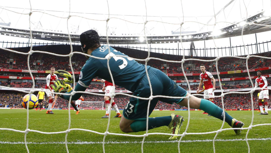 LONDON, ENGLAND - MARCH 11:  Petr Cech of Arsenal makes a save during the Premier League match between Arsenal and Watford at Emirates Stadium on March 11, 2018 in London, England.  (Photo by Julian Finney/Getty Images)