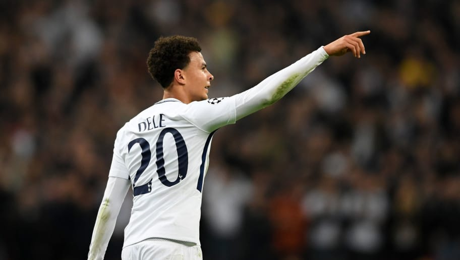 LONDON, ENGLAND - NOVEMBER 01:  Dele Alli of Tottenham Hotspur celebrates scoring the first goal during the UEFA Champions League group H match between Tottenham Hotspur and Real Madrid at Wembley Stadium on November 1, 2017 in London, United Kingdom.  (Photo by Laurence Griffiths/Getty Images)