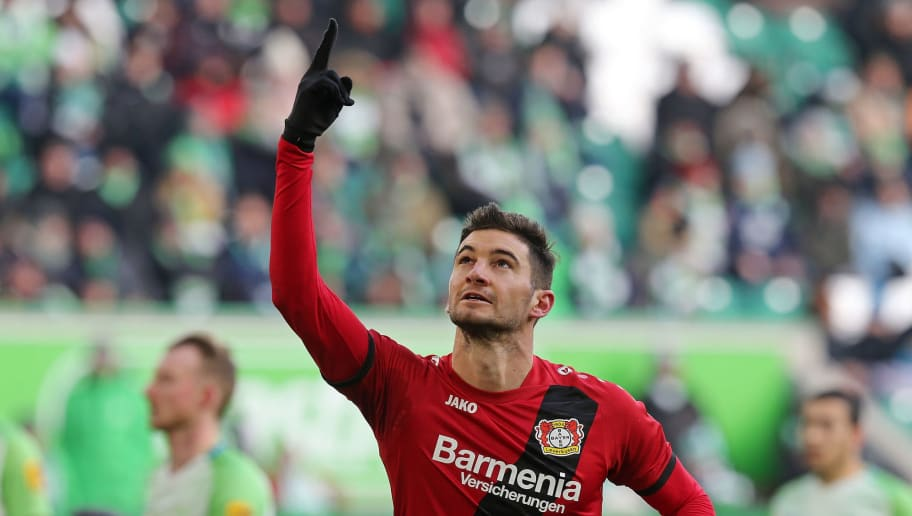 WOLFSBURG, GERMANY - MARCH 03:  Lucas Alario of Leverkusen jubilates after  scoring the first goal after penalty during the Bundesliga match between VfL Wolfsburg and Bayer 04 Leverkusen at Volkswagen Arena on March 3, 2018 in Wolfsburg, Germany. (Photo by Matthias Kern/Bongarts/Getty Images)