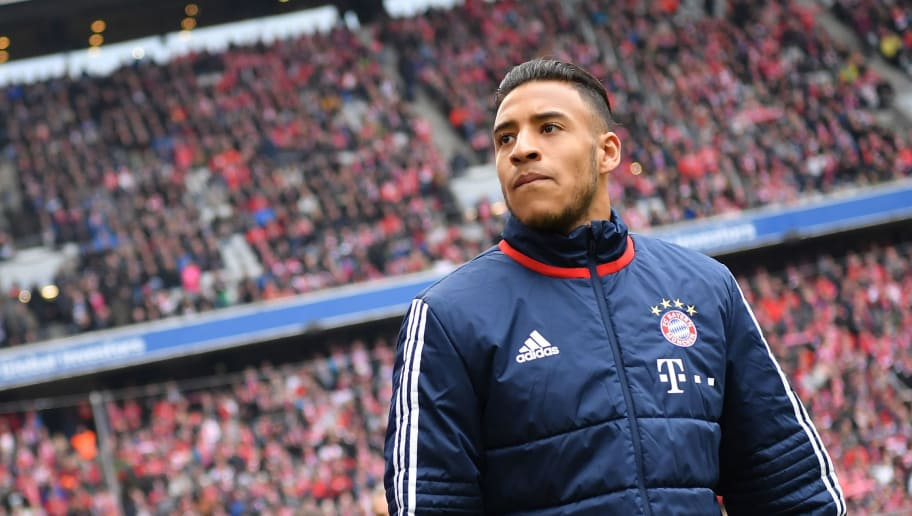 MUNICH, GERMANY - MARCH 10: Corentin Tolisso of Bayern Muenchen looks on prior to the Bundesliga match between FC Bayern Muenchen and Hamburger SV at Allianz Arena on March 10, 2018 in Munich, Germany. (Photo by Sebastian Widmann/Bongarts/Getty Images)