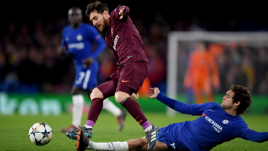 LONDON, ENGLAND - FEBRUARY 20:  Lionel Messi of Barcelona is tackled by Marcos Alonso of Chelsea  during the UEFA Champions League Round of 16 First Leg match between Chelsea FC and FC Barcelona at Stamford Bridge on February 20, 2018 in London, United Kingdom.  (Photo by Shaun Botterill/Getty Images,)