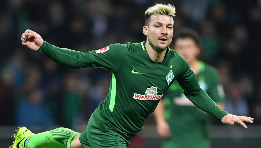 BREMEN, GERMANY - FEBRUARY 11:  Jerome Gondorf of Bremen in action during the Bundesliga match between SV Werder Bremen and VfL Wolfsburg at Weserstadion on February 11, 2018 in Bremen, Germany.  (Photo by Stuart Franklin/Bongarts/Getty Images)