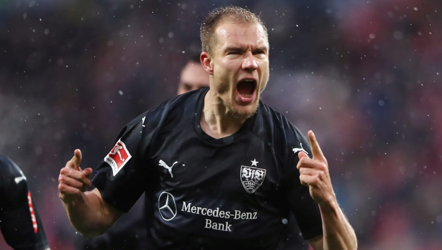 MAINZ, GERMANY - JANUARY 20:  Holger Badstuber of Stuttgart celebrates his team's first goal during the Bundesliga match between 1. FSV Mainz 05 and VfB Stuttgart at Opel Arena on January 20, 2018 in Mainz, Germany.  (Photo by Alex Grimm/Bongarts/Getty Images)