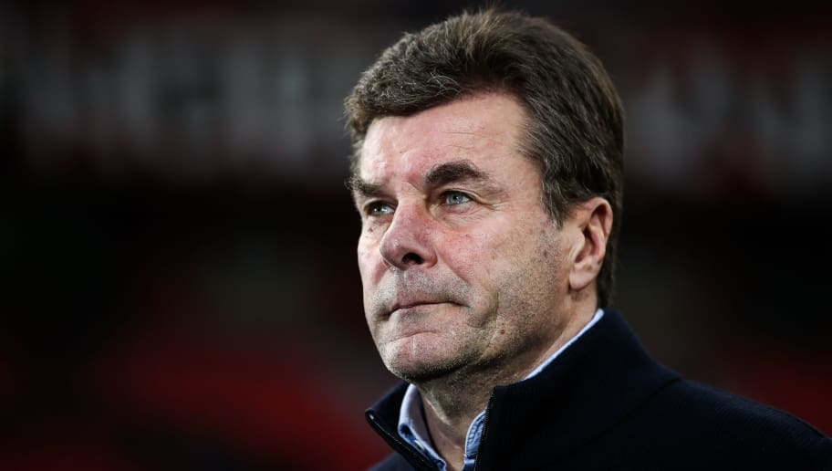 LEVERKUSEN, GERMANY - MARCH 10: Head Coach Dieter Hecking of Moenchengladbach looks on prior the Bundesliga match between Bayer 04 Leverkusen and Borussia Moenchengladbach at BayArena on March 10, 2018 in Leverkusen, Germany. (Photo by Maja Hitij/Bongarts/Getty Images)