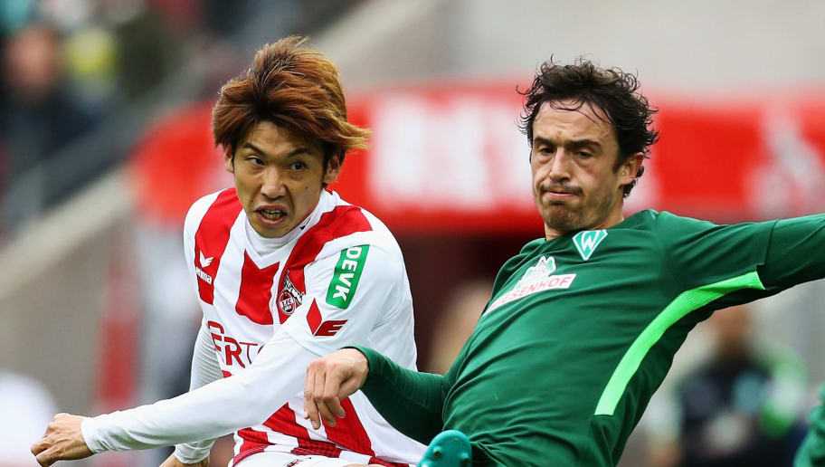 COLOGNE, GERMANY - OCTOBER 22:  Yuya Osako of FC Koeln shoots on goal in front of Thomas Delaney of Werder Bremen during the Bundesliga match between 1. FC Koeln and SV Werder Bremen held at RheinEnergieStadion on October 22, 2017 in Cologne, Germany.  (Photo by Dean Mouhtaropoulos/Bongarts/Getty Images)