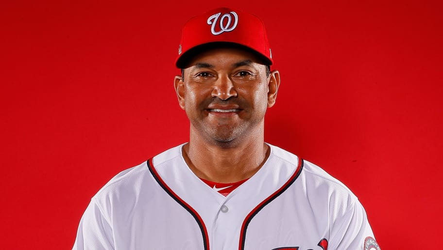 WEST PALM BEACH, FL - FEBRUARY 22:  Dave Martinez #4 of the Washington Nationals poses for a photo during photo days at The Ballpark of the Palm Beaches on February 22, 2018 in West Palm Beach, Florida.  (Photo by Kevin C. Cox/Getty Images)