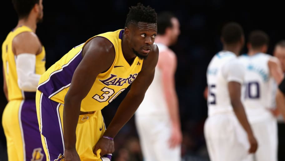 LOS ANGELES, CA - JANUARY 05:  Julius Randle #30 of the Los Angeles Lakers looks on during the second half of a game against the Charlotte Hornets  at Staples Center on January 5, 2018 in Los Angeles, California.  NOTE TO USER: User expressly acknowledges and agrees that, by downloading and or using this photograph, User is consenting to the terms and conditions of the Getty Images License Agreement.  (Photo by Sean M. Haffey/Getty Images)