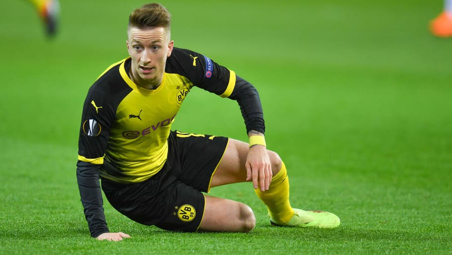 Dortmund's German forward Marco Reus reacts during the Europa League Round of 16 first leg football match between Borussia Dortmund and FC Salzburg on March 8, 2018 in Dortmund. / AFP PHOTO / Patrik STOLLARZ        (Photo credit should read PATRIK STOLLARZ/AFP/Getty Images)