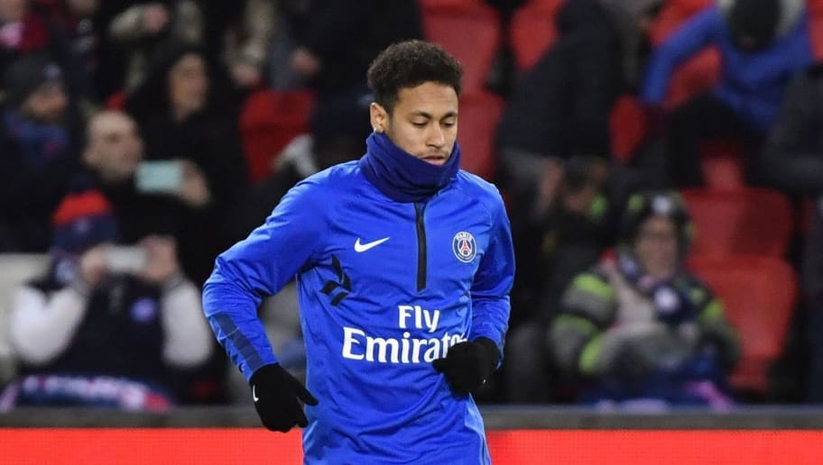 Paris Saint-Germain's Brazilian forward Neymar Jr warms up prior to the French L1 football match between Paris Saint-Germain (PSG) and Marseille (OM) at the Parc des Princes in Paris on February 25, 2018.  / AFP PHOTO / GERARD JULIEN        (Photo credit should read GERARD JULIEN/AFP/Getty Images)