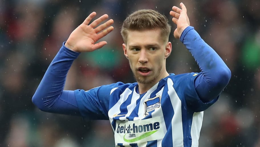 BERLIN, GERMANY - MARCH 10:  Mitchell Weiser of Hertha BSC reacts during the Bundesliga match between Hertha BSC and Sport-Club Freiburg at Olympiastadion on March 10, 2018 in Berlin, Germany.  (Photo by Boris Streubel/Bongarts/Getty Images)