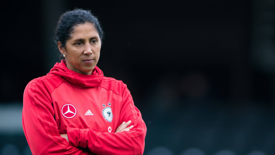 GROSSASPACH, GERMANY - OCTOBER 24: Head coach Steffi Jones of Germany looks on prior to the 2019 FIFA Women's World Championship Qualifier match between Germany and Faroe Islands at mechatronik Arena on October 24, 2017 in Grossaspach, Germany. (Photo by Simon Hofmann/Bongarts/Getty Images)