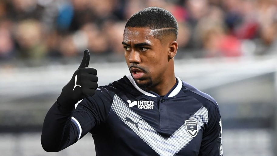 Bordeaux's Malcom gestures to teammates during the French Football League 1 match between Bordeaux and Angers at The Matmut Stadium in Bordeaux, southwestern France on March 10, 2018.  / AFP PHOTO / MEHDI FEDOUACH        (Photo credit should read MEHDI FEDOUACH/AFP/Getty Images)