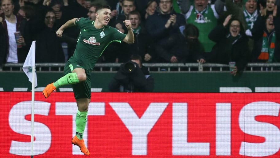 BREMEN, GERMANY - MARCH 12: Milot Rashica of Bremen celebrates his team's second goal during the Bundesliga match between SV Werder Bremen and 1. FC Koeln at Weserstadion on March 12, 2018 in Bremen, Germany.  (Photo by Lars Baron/Bongarts/Getty Images)