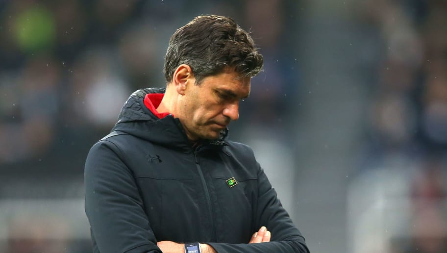 NEWCASTLE UPON TYNE, ENGLAND - MARCH 10:  Mauricio Pellegrino, Manager of Southampton looks dejected after the Premier League match between Newcastle United and Southampton at St. James Park on March 10, 2018 in Newcastle upon Tyne, England.  (Photo by Alex Livesey/Getty Images)