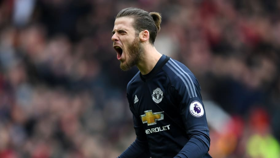 MANCHESTER, ENGLAND - MARCH 10:  David De Gea of Manchester United celebrates his side's first goal during the Premier League match between Manchester United and Liverpool at Old Trafford on March 10, 2018 in Manchester, England.  (Photo by Michael Regan/Getty Images)