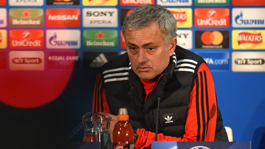 Manchester United's Portuguese manager Jose Mourinho attends a press conference following a team training session, at Old Trafford stadium in Manchester, north west England on March 12, 2018, on the eve of their UEFA Champions League round of 16 second-leg football match against Sevilla. / AFP PHOTO / Oli SCARFF        (Photo credit should read OLI SCARFF/AFP/Getty Images)